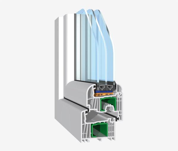 Model cu 7 camere cu aspect cu suprafeţe decalate pe jumătate şi canat rotund